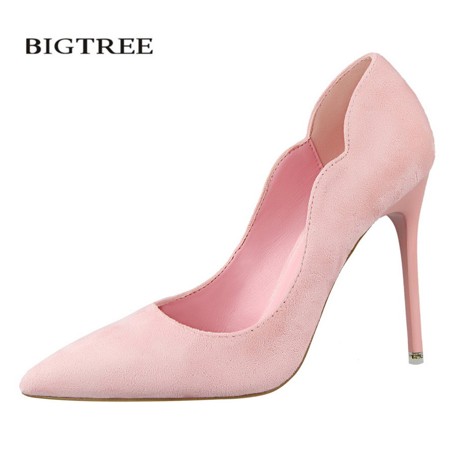 BIGTREE Spring Pumps Sweet High Heels Shoes Thin Wave High-heeled Shoes Suede OL Pointed Flock Elegant Heeled Shoes G3168-10 lakeshi new fashion pumps thin sexy high heeled shoes woman pointed suede hollow out bowknot sweet elegant women shoes
