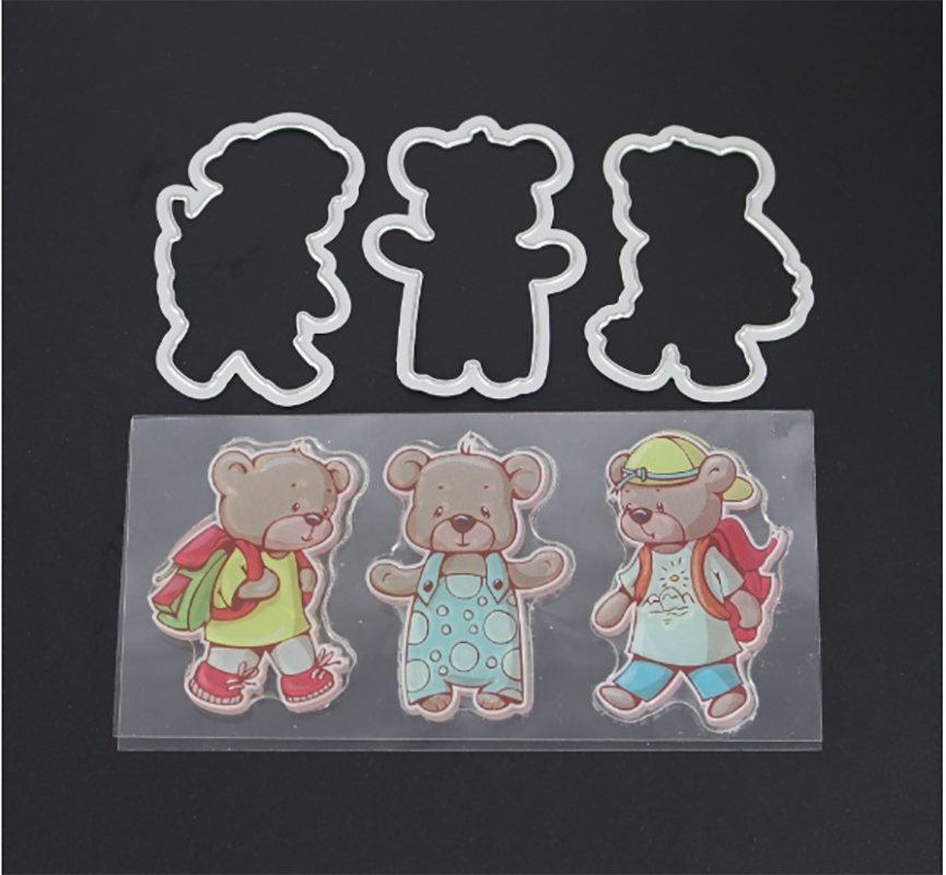 AZSG Bear student Transparent Silicone Seal / Stamp DIY clip album decoration transparent seal cutting mold set