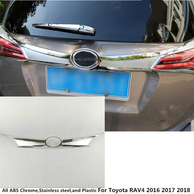 High Quality For Toyota Rav4 2016 2017 2018 Abs Chrome Car Styling Trunk Lid Cover Molding