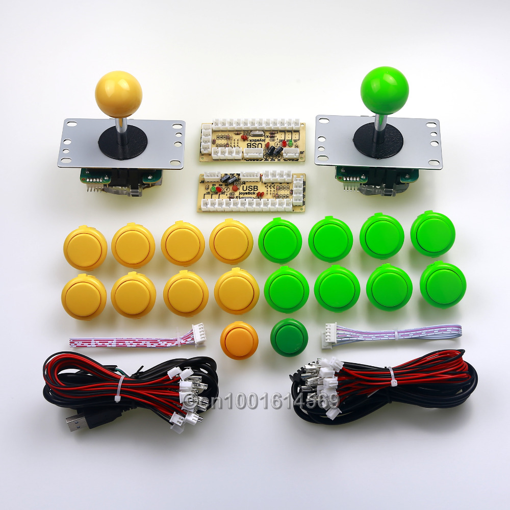 Arcade Game DIY 16 X Japan SANWA OBSF-30 & 2 X China Reyann Push Buttons + 2 Sanwa Joystick+2 PC Encoders for Mame -Green+Yellow