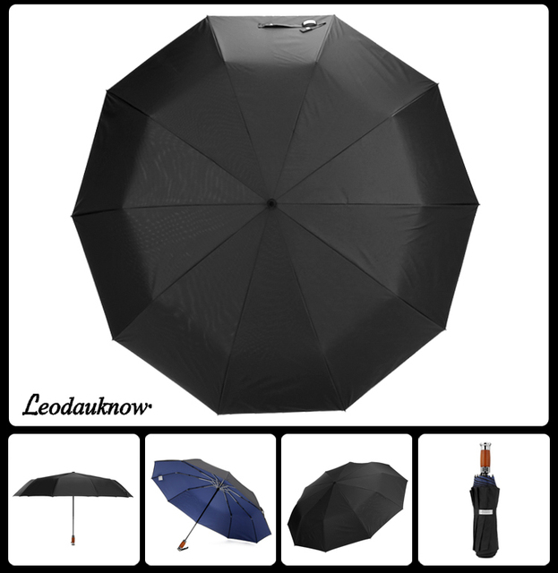 Genuine Brand 125cm Big Automatic Quality Double Layer Umbrella Rain Women 3Fold Windproof Large Outdoor Umbrella Men Woman 4
