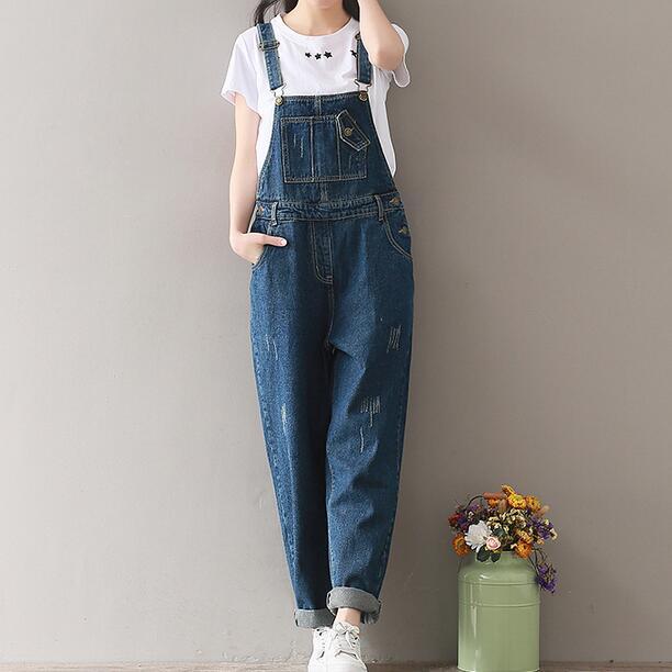 c882de7eab1 2018 Summer Jeans Women Jumpsuit Denim Romper Overalls Long Trousers  Vaqueros Basic Denim Pants Wide Leg Rompers AH714