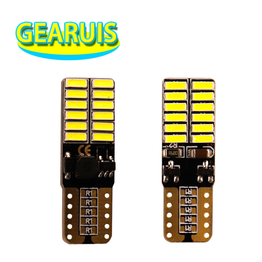 220MA Constante 10X T10 W5W Canbus 24 SMD 4014 LED NENHUM Erro 24SMD 501 car styling clearance luz Ice blue Rosa Verde 7 núcleos