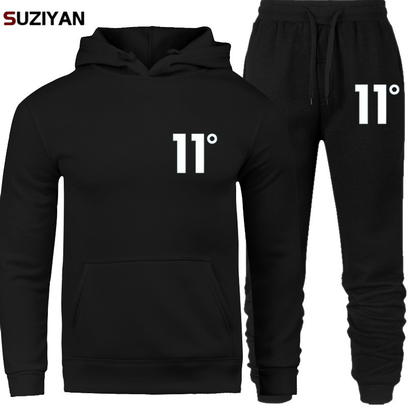 2019 New Brand Men Sportswear Sets Print 11 Tracksuit Men Thermal Underwear Fleece Thick Hoodie+Pants Malechandal Sporting Suit