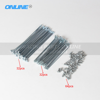 64pcs One set dirt bike Silver Spokes for dirt Bike 1.6 17inch Front and 1.85 14inch Rear Wheel Rim motorcycle repair Spokes