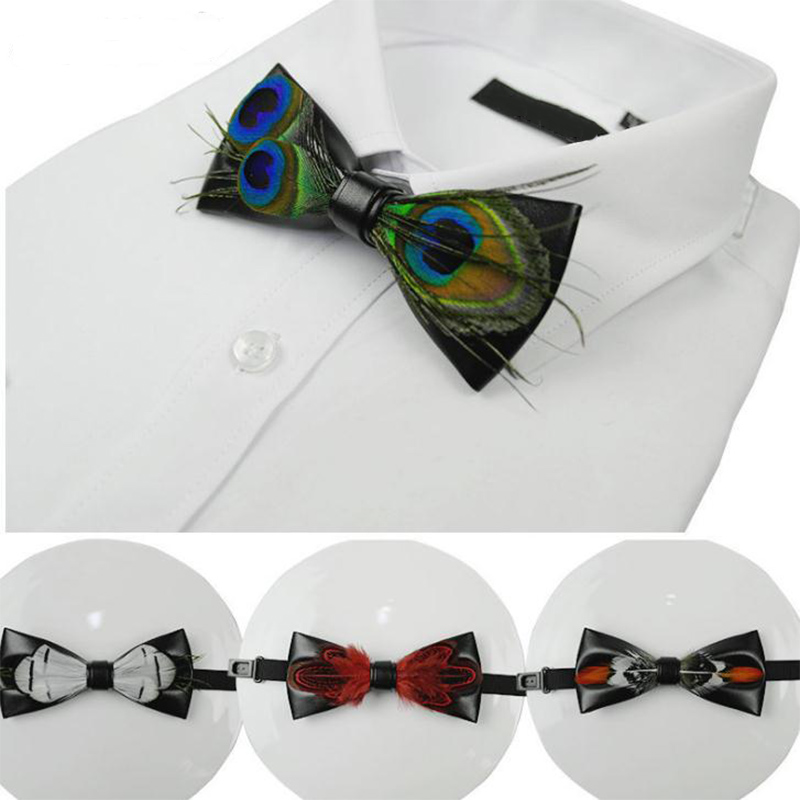 Pu Leather Feather Plume Men Bow Tie Female Necktie Red  Black Pink Adult Cravate Homme Wedding Bow Ties For Gentlemen