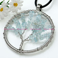 Charm Aquamarine Natural Stone Round Tree Of Life Winding Pendant Accessories Silver Plated Fashion Jewelry 1Pcs