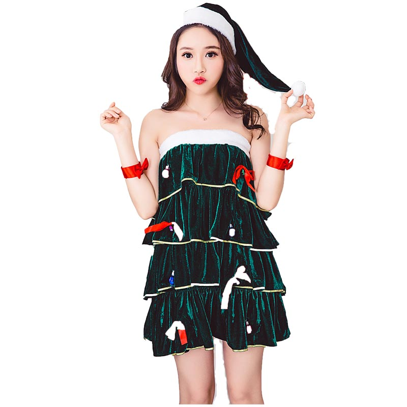 Adult Women Christmas Tree Tiered Dress Costume Ladies Short Sexy Layered Tube Dress With Hat Sleeveless Outfit For Teen Girls