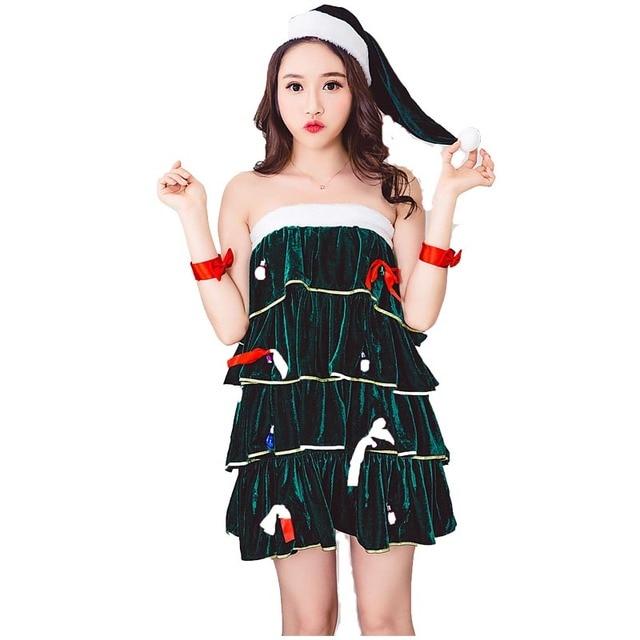 Christmas Tree Dress Costume: Women Christmas Tree Tiered Dress Santa Costume Green