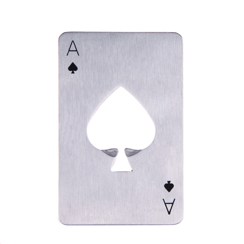 1pcs Poker Shape Bottle Opener Stainless Steel Playing Card Ace Soda Beer Cap Opener Portable Bar Tools