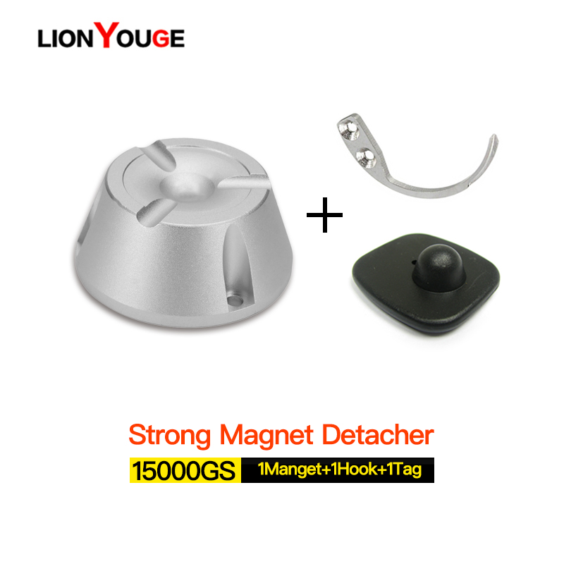 EAS Hard Tag Remover Super Magnetic Eas Alarm Tag Detacher Magnet Unlocking 15000GS 1magnet+1hook+1tag