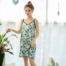 Cartoon Print Strap Nightdress Summer Casual Home Night Dress Sexy Nightshirt Sleepwear цена 2017