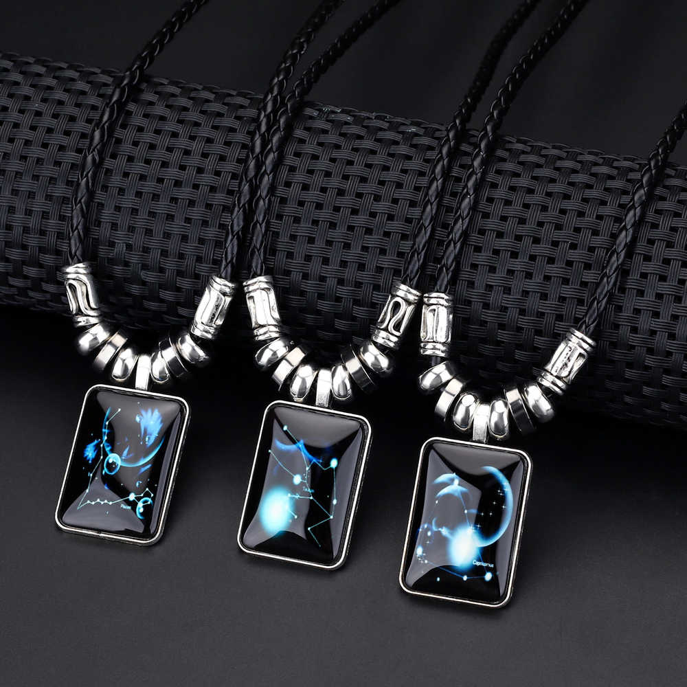 2019 fashion jewelry 12 Constellation Necklaces & Pendant for Women Men Girl Fashion Long Leather Chain Vintage Silver Necklace