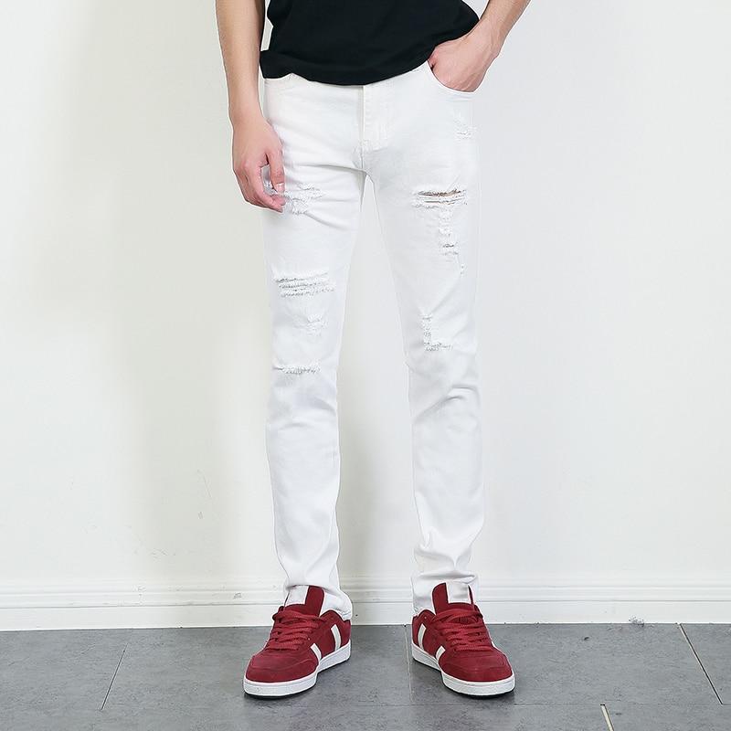 9bbb5847190 represent clothing designer pants white destroyed mens slim denim straight  biker skinny jeans men ripped jeans 28 36 MB1615-in Jeans from Men's  Clothing on ...