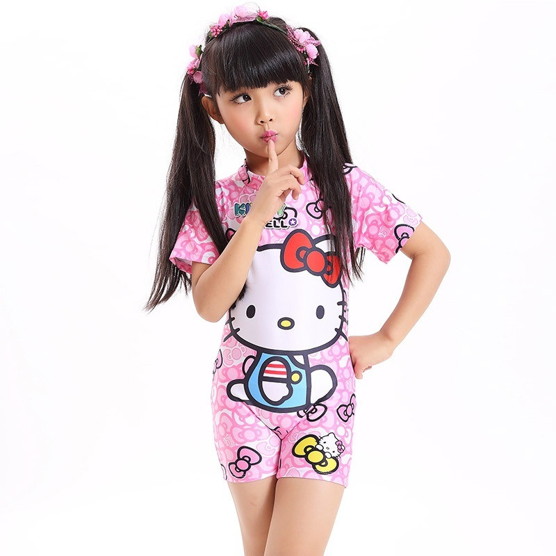 Pink Cartoon Design Kids Swimsuit Quality One-piece Girls Lovely Surfing Swimwear Bathing Suit Children Beachwear for 1-11 year spider man style surfing clothes for 3 10y little boys kids one piece beachwear swimwear high quality children clothing