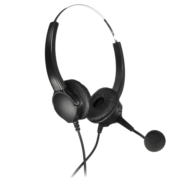 ハンズフリー通話センターバイノーラルヘッドフォン電話コード付きヘッドセットヘッドホンとマイクノイズキャンセル
