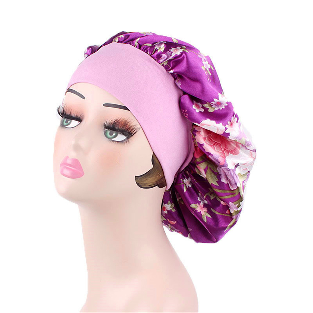 Women Fashion Comfortable Night Sleep Caps Wide Band Hair Loss Chemo Hat Lady Floral Print Satin Bonnet Turban Hat