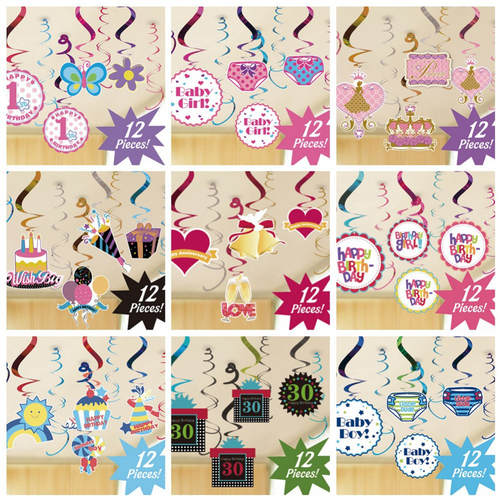 Hanging Dangling Swirl Decorations For BoysGirlsAdults Birthday Shower Anniversary 1st 16th 30th 40th 50th Party