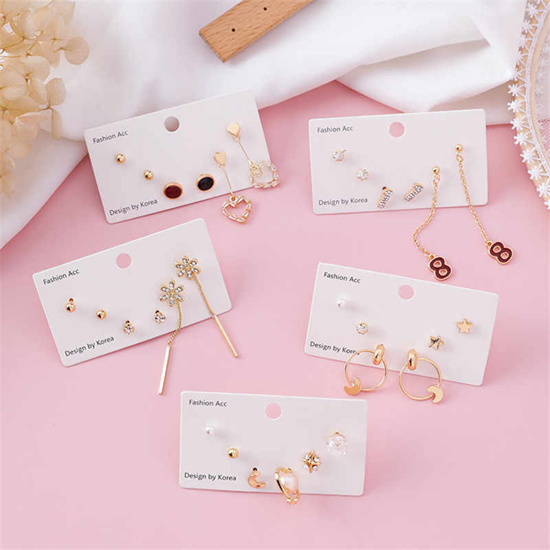 3 Pairs/set Fashion Tiny Heart Letters Stars Stud Earrings for Women Cute Planet Flowers Daily Earrings Party Girl Jewelry