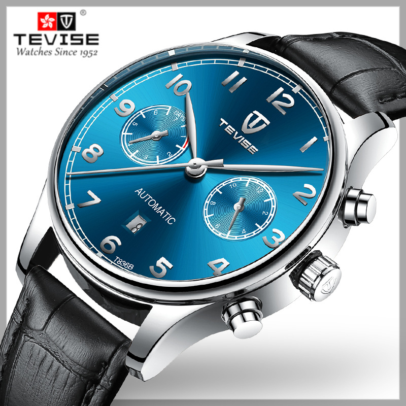 TEVISE 2019 New Men Automatic Mechanical Watch Leather Strap Fashion Luxury Brand Military Waterproof Business Sports