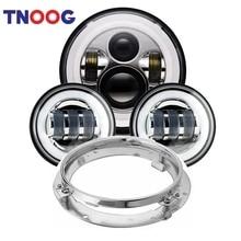 TNOOG 7 «круглые светодиодные фары светодиодный 2 шт. 4,5» прохождения лампы для мотоциклов с DRL мотоциклов Touring Electra Glide Road King