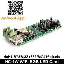 Wi fi sinal de cor completa 32*832, texto, cartão de controle led HC 1 HC 1W suporte p3 p4 p5 p6 p7.62 placa de display de módulo led p8 p10mm,
