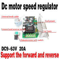 2015 The Latest 20A DC Motor Speed Controller PWM Controllers Promise Forward Reverse Switch 9 63V