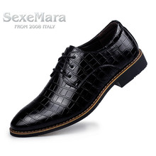 Free Shipping 2016 Men Casual shoes Flat Crocodile pattern Breathable Round Toe Business Shoes For Men