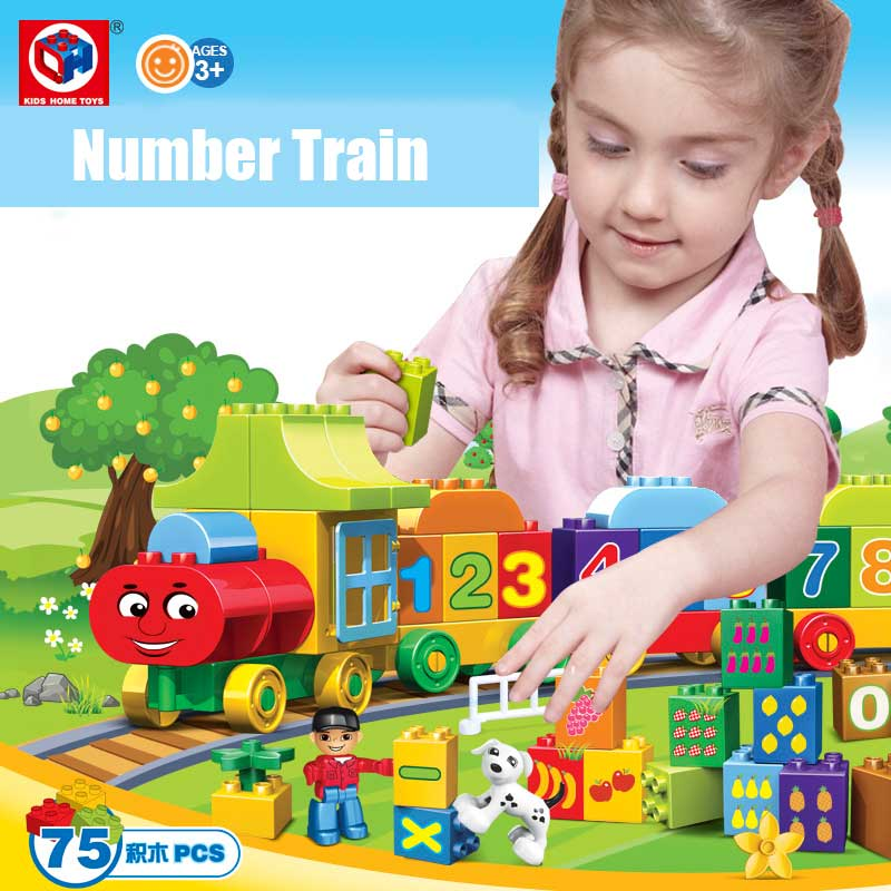 Kids's Home Toys My First Number Train 75PCS/SET Large Size Block Bricks Toy Large Particles Kids DIY Toy Compatible With Duplo free shipping happy farm set 1 diy enlighten block bricks compatible with other assembles particles