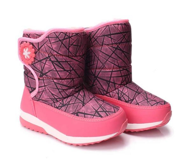 Winter Kids Ankle Plush Fashion Boots for Boys Girls PU Round Toe Rubber Snow Boot Children Flat With Shoes 1739 30 degree pu winter warm plush shoes fashion children s thick shoes girls high snow boot martin boots for kids accessories