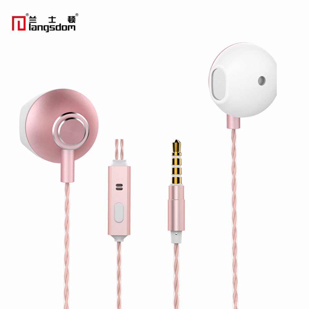 Langsdom  M320 Metal Earphones 3.5mm Stereo Bass In-Ear Earphone With Microphone For iphone Samsung Xiaomi Android phone PC MP3 original langsdom sp80a stereo earphones with microphone super bass 3 5mm in ear earphone for iphone xiaomi mobile phone mp3 mp4
