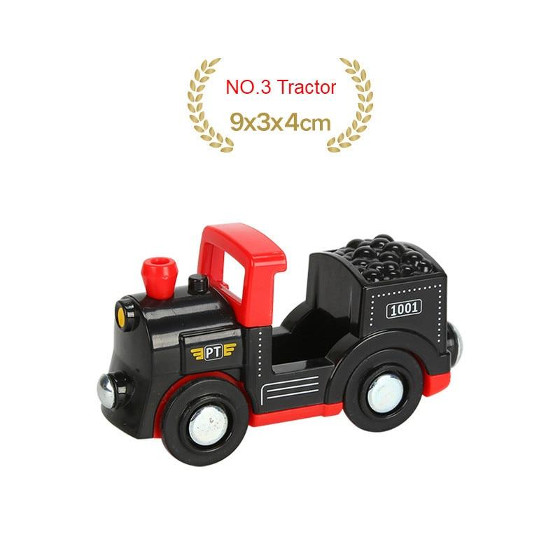 EDWONE деревянный магнитный Поезд Самолет деревянная железная дорога вертолет автомобиль грузовик аксессуары игрушка для детей подходит Дерево Biro треки подарки - Цвет: NO.3 Tractor