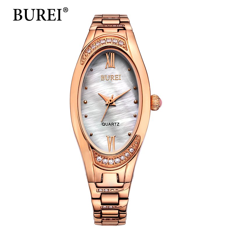 Фотография Ladies Shell Oval Dial Rose Gold Stainless Steel Bracelet Womens Watches 30M Waterproof Quartz Wristwatches Relogio Masculino