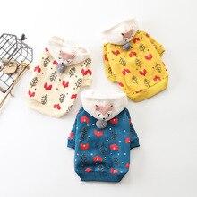 Зимняя теплая одежда для домашних животных, рисунок мультяшной лисы, толстовка с капюшоном для маленьких и больших собак, свитера, пальто, хлопковая одежда для щенков, наряд для чихуахуа