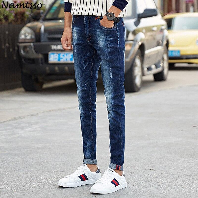Mens jeans four seasons new youth fashion mens elastic pants Korean Slim feet trousers male stretch pants