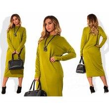 Винтажное платье-карандаш больших размеров 6XL, свободная туника до колена, платья с длинными рукавами, Vestidos tunika, Осень-зима, LMH83U