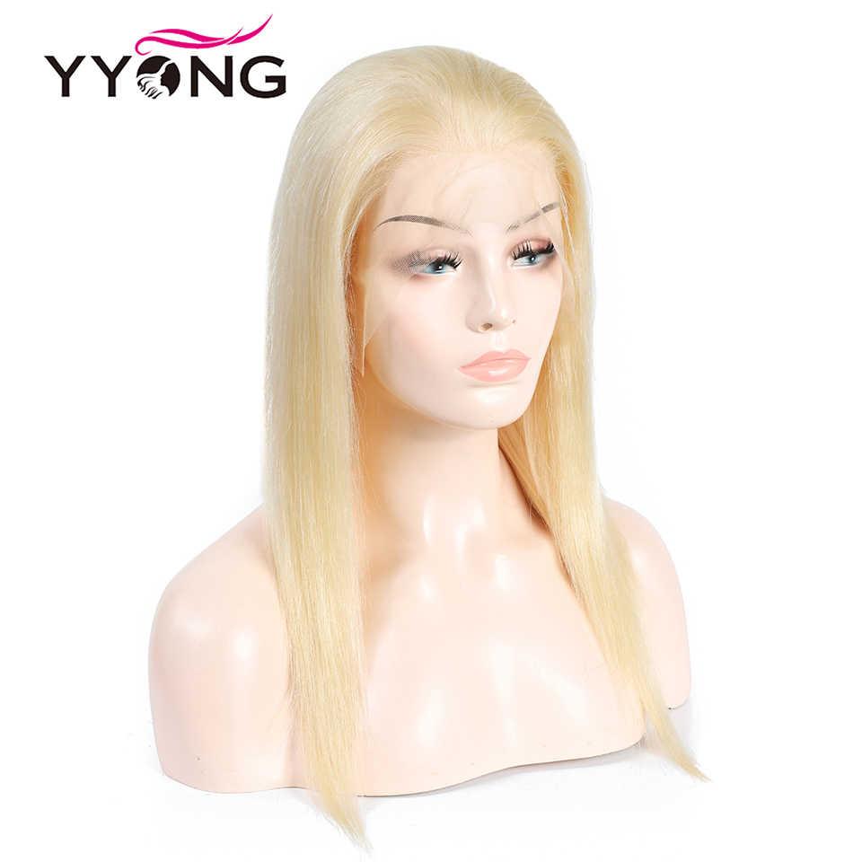 Yyong 613 pelucas de cabello humano de encaje completo Rubio para mujeres negras predesplumado con cabello de bebé pelo brasileño recto Remy 120% de cabello