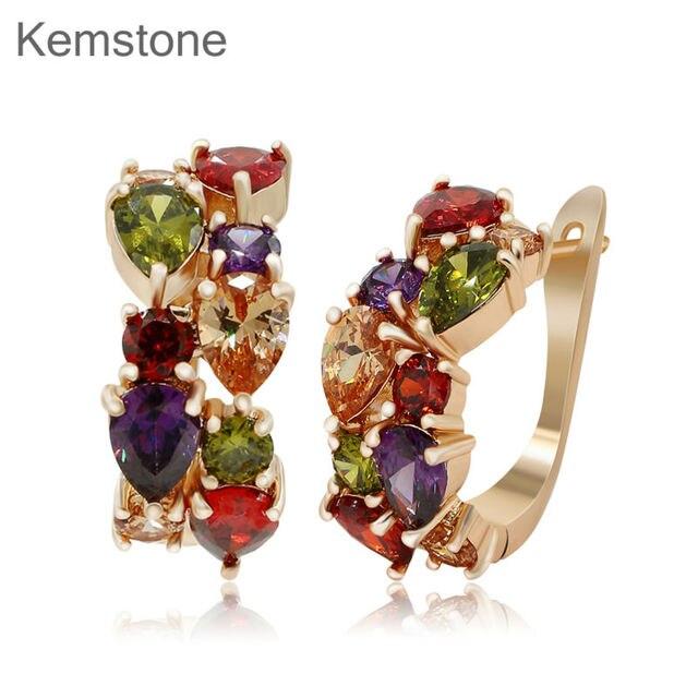 Luxury Multi Color Australian Rhinestone Pierced Hoop Earrings Women Lady Costume Jewelry Collection