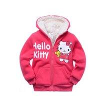 Retail Baby girls Cartoon Hello Kitty Winter fur coat children outerwear girls cotton thick warm font