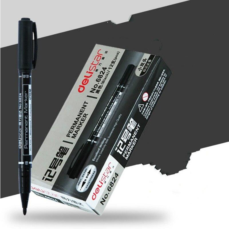 12 шт./кор. черный 0,5 мм 1 мм двойной слайдер масло маркер Mark ручка ребенка Ручка-закладка постоянный круглый носком маркером