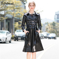 2018 autumn new European fashion runways windbreaker female long vintage retro Plaid PU leather coat Trench (UL231)