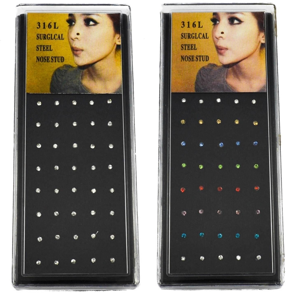 Wholesale 40pcs Bulk Multi Stainless Steel Nose Studs Ring Hoop Body Piercing EN