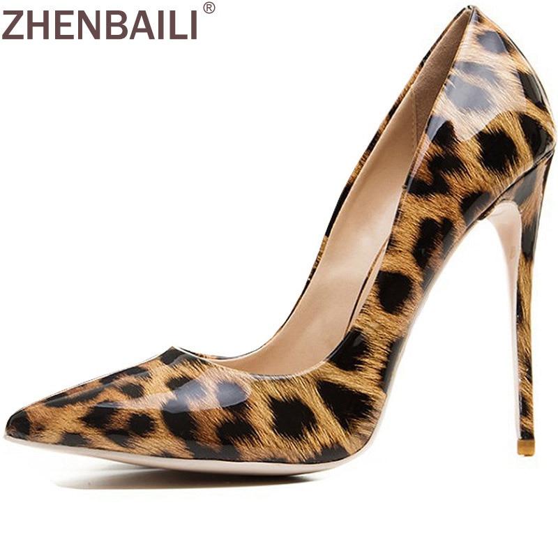 цена на ZHENBAILI Metallic Pointed Toe Thin Heel Shoes Shallow Slip-On Women Pumps Leopard Print 12CM Super High Heel Party Shoe