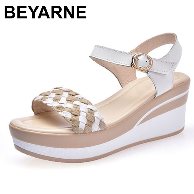 BEYARNE Female  Sandals Shoes Wedge Platform Leather Ladies Buckle Sandals High Heels Weave Strap Sandals For Women Summer wdzkn new summer wedge sandals women high heels 8 5cm black white comfortable women platform sandals pu leather female shoes