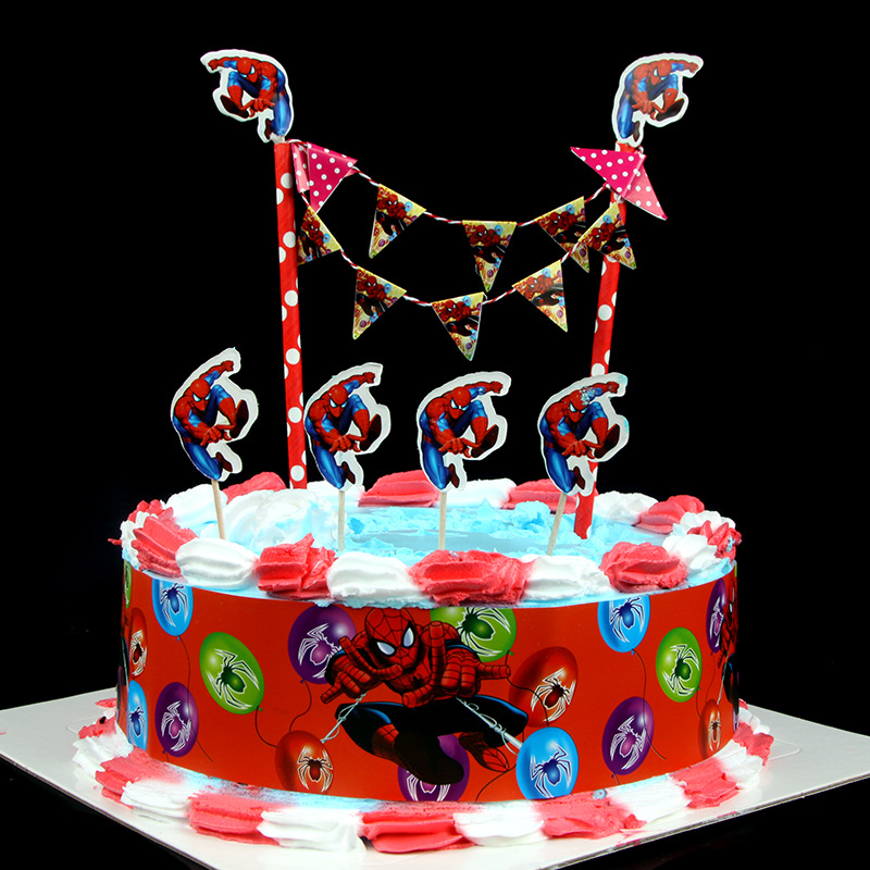 Online Shop Spider Man Birthday Cake Decoration Flag Card Creative Safe Cartoon Paper Party Decorating Skirt For Boys Girls