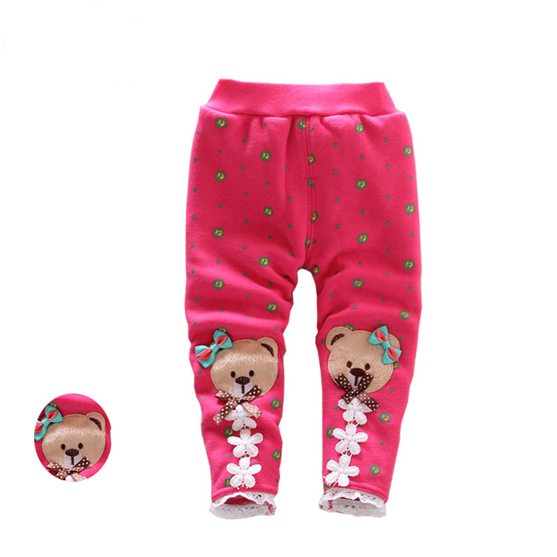 2017 autumn and winter thicker baby pants girls cute lace plus velvet warm girls leggings girls pants children wit