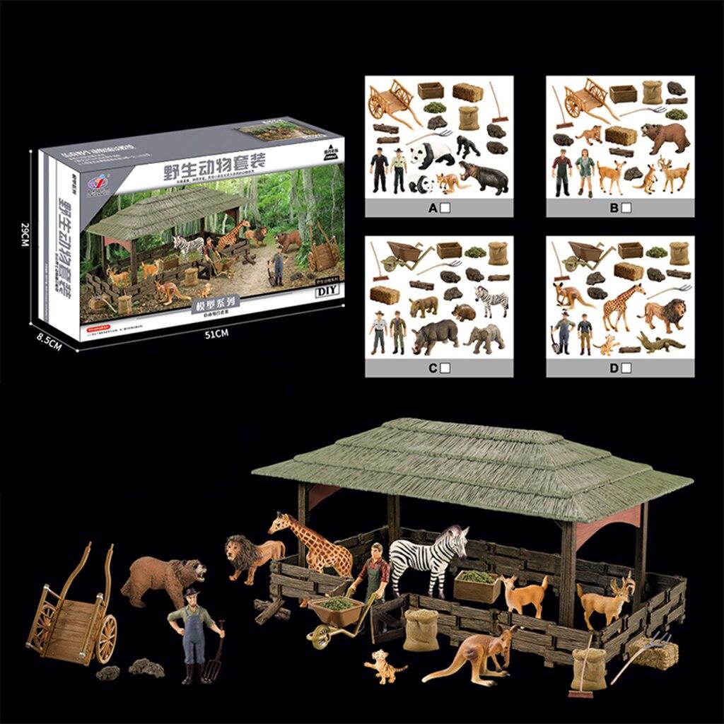 Simulation animaux figurines Playset Mini Jungle animaux jouets ensemble animaux sauvages Statues bricolage ferme maison jeu ensemble enfants jouet pratique
