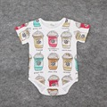 2016 Summer New Newborn Infant Baby Boys Girls Romper Clothes Short Sleeve Cartoon Cotton Romper