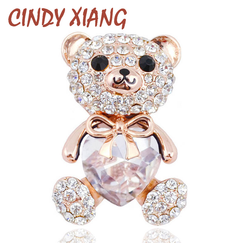 CINDY XIANG 3 Ngjyrat Zgjidhni Big Bear Heart Crystal Bear Brook Cute Animal Animal and Bruches for Women Veshje Pallto Badges Bizhuteri Nxehtë