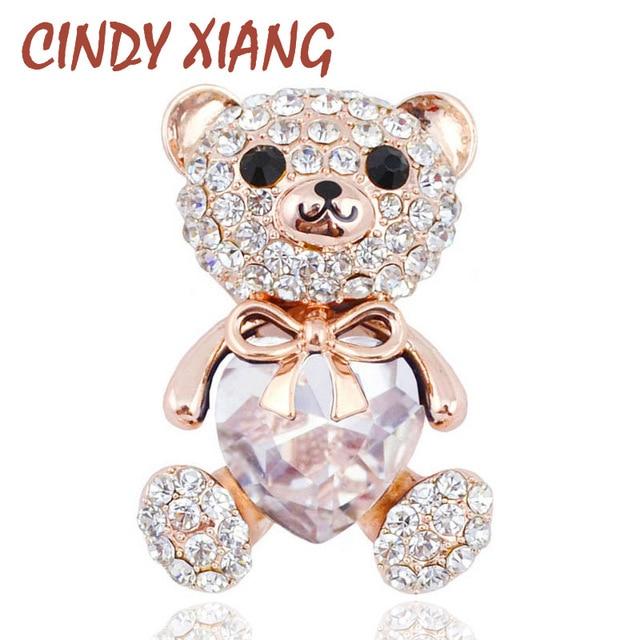 CINDY XIANG 3 Colors Choose Big Crystal Heart Bear Brooch Cute Animal Pins and B